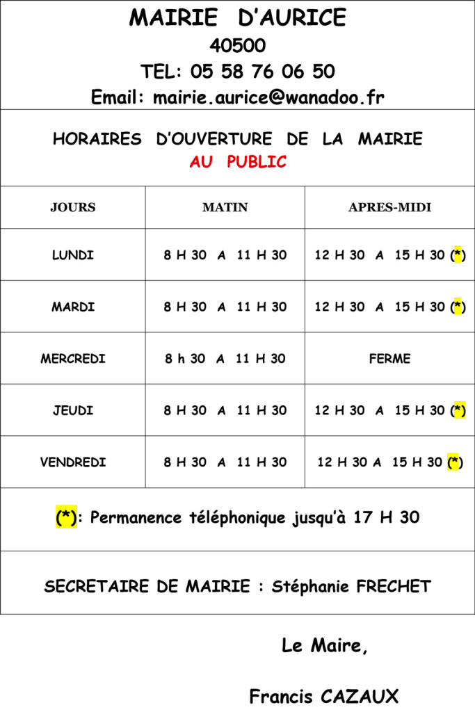 HORAIRES--MAIRIE