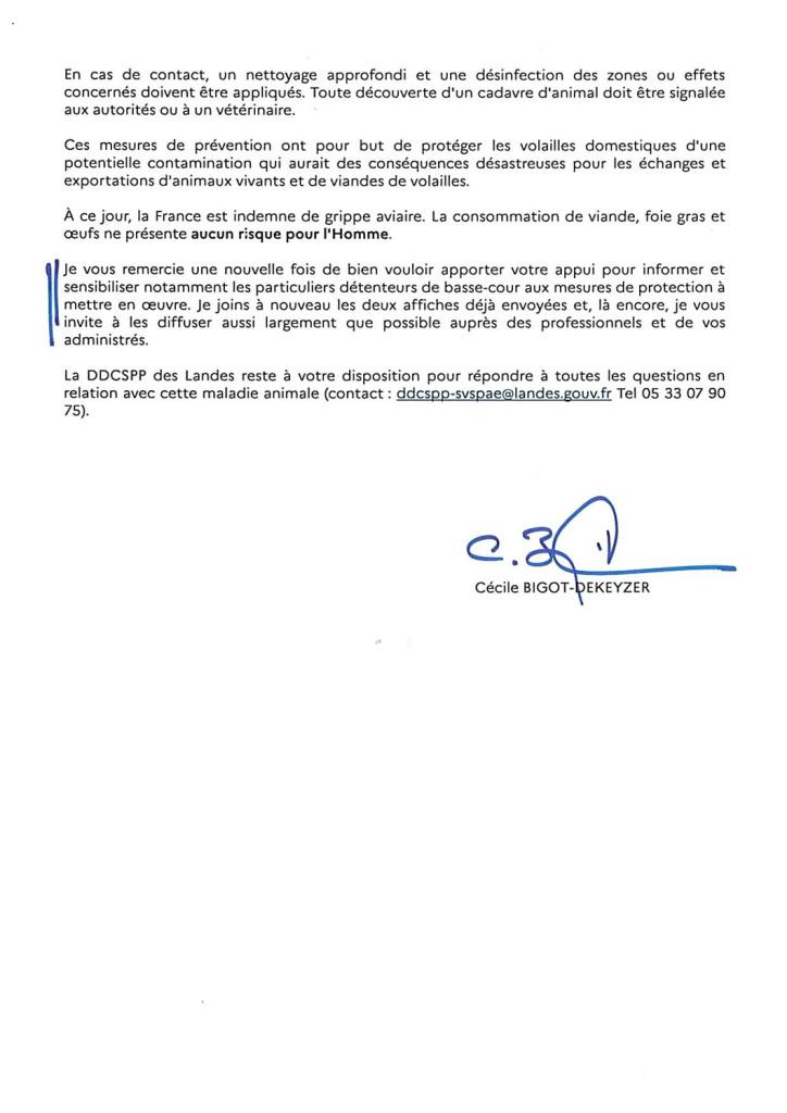 courrier-aux-maires,-grippe-aviaire,-risque-élevé-2